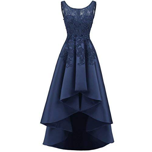 Kivary Illusion Top Beaded Lace High Low Prom Gown Homecoming Dress Navy Blue US